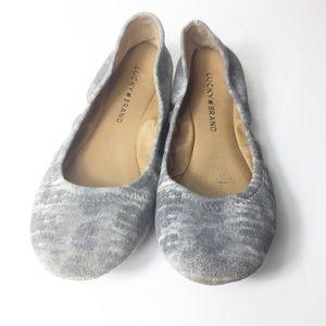 Lucky Brand Gray Leather Tie Dye Boho Flats